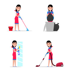 a set cartoon girl cleaning vector image vector image