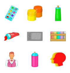 Artist icons set cartoon style vector