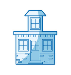 Blue shading silhouette house with small attic vector