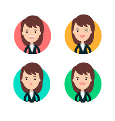 business woman profile in many expression vector image vector image