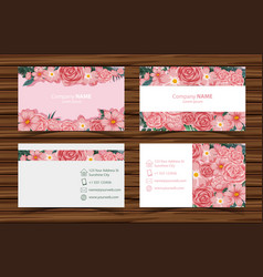 Businesscard templates with pink roses front and vector