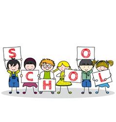 Children with school posters vector