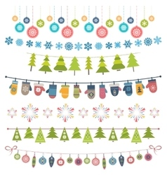 Christmas flags bunting and garlands vector
