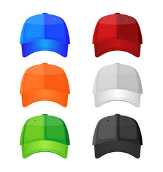 colorful baseball caps isolated on white vector image vector image