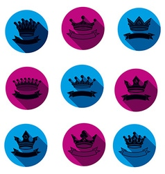 Colorful luxury crowns collection isolated 3d vector