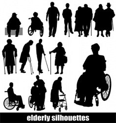 elderly silhouettes vector image