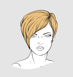 Face of a woman with short hair vector image vector image