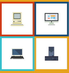 Flat icon computer set of computing display vector