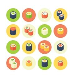Flat isometric sushi icons set vector image