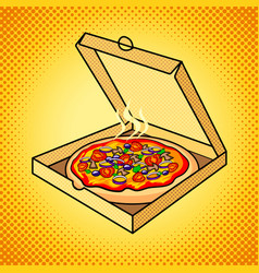 fresh pizza in box pop art vector image vector image