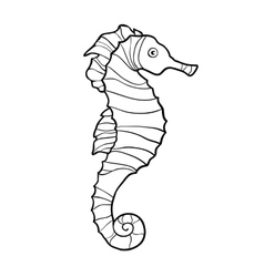 Hand drawn sketch of seahorse isolated on white vector image vector image