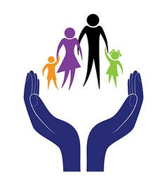 Hand in people encouragement help support moral vector image