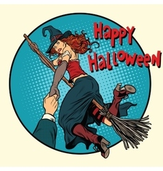 Happy Halloween witch on a broomstick follow me vector image vector image