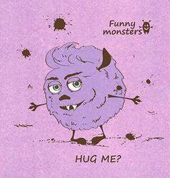 Hugging funny shaggy monster vector