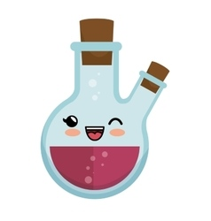 Kawaii round flask laboratory chemical icon vector