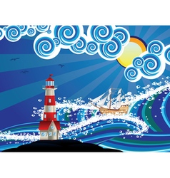 Lighthouse and boat in the sea4 vector