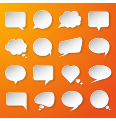 Modern paper speech bubbles set on orange vector image vector image