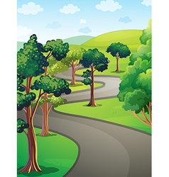 Nature scene with trees in the park vector image vector image