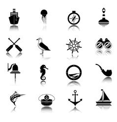 Nautical icons set black vector image vector image