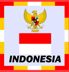 Official ensigns flag and coat of arm of indonesia vector