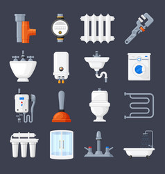 plumbing and heating set vector image vector image