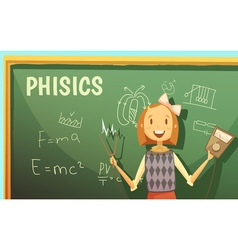 School physics education classroom cartoon poster vector