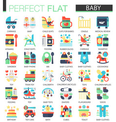 set of flat baby kid icons vector image vector image