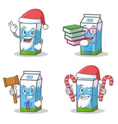 Set of milk box character with santa candy book vector