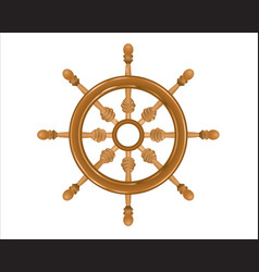 ships steering wood wheel on white background vector image