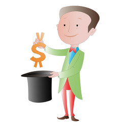 The business magician making money disappear vector