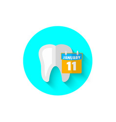 tooth and calendar in a flat design vector image vector image