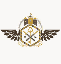vintage heraldic coat of arms created in award vector image vector image