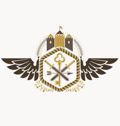 Vintage heraldic coat of arms created in award vector