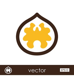 Walnut outline icon fruit nut vector