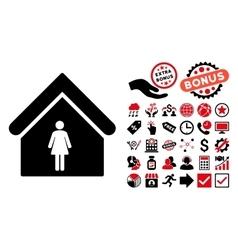 Woman Toilet Flat Icon with Bonus vector image vector image