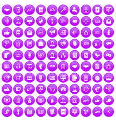 100 dialog icons set purple vector