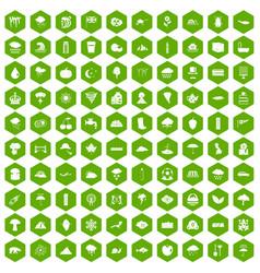 100 rain icons hexagon green vector