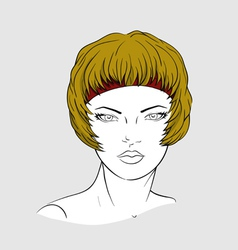 Face of woman with an elastic band for hair-dressi vector