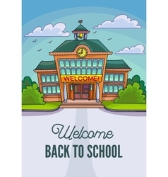 School building for banner or poster vector