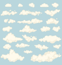 Set of blue sky clouds icon shape different vector