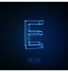 Neon 3d letter e vector