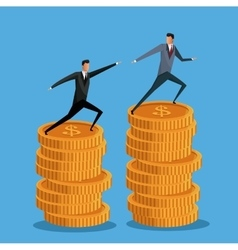 Men business on pile coin growth collaboration vector