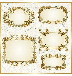 Floral swirly golden frames vector