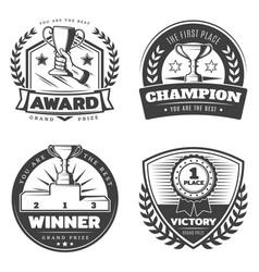 Vintage sport prizes emblems set vector