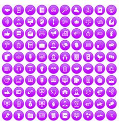 100 dialog icons set purple vector