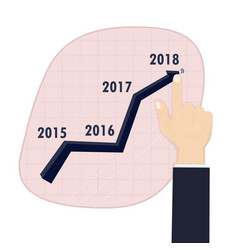Businessman hand pushing a business graph on a vector