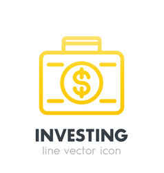 Investing icon banking suitcase with money vector