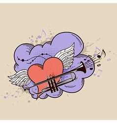 red heart and trumpet vector image