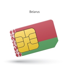 Belarus mobile phone sim card with flag vector