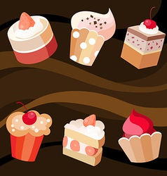 six cakes set vector image